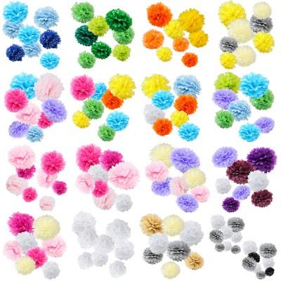 assorted paper tissue pom pom color pack set of 8