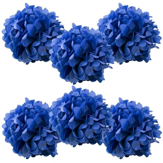 6pk royal blue pom poms