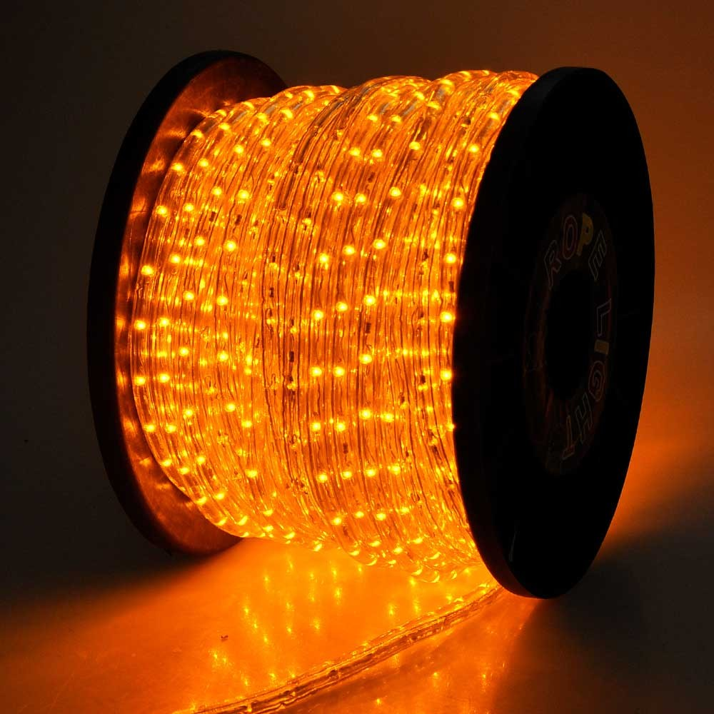 150' Orange / Saffron Yellow LED Rope Light - Home Outdoor Christmas Lighting - WYZ works