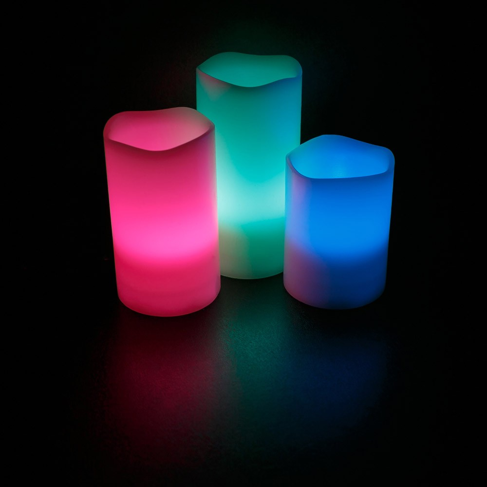 Led Flameless Ivory Candles Set Of 3 4 Quot 5 Quot 6 Quot Color
