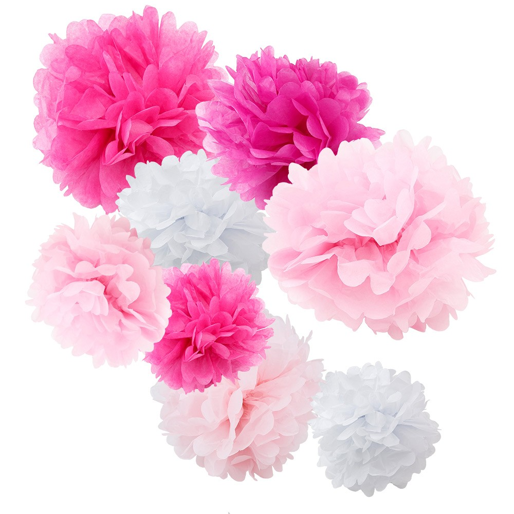 Assorted Pink And White Paper Tissue Pom Poms Set Of 8 Color Pack