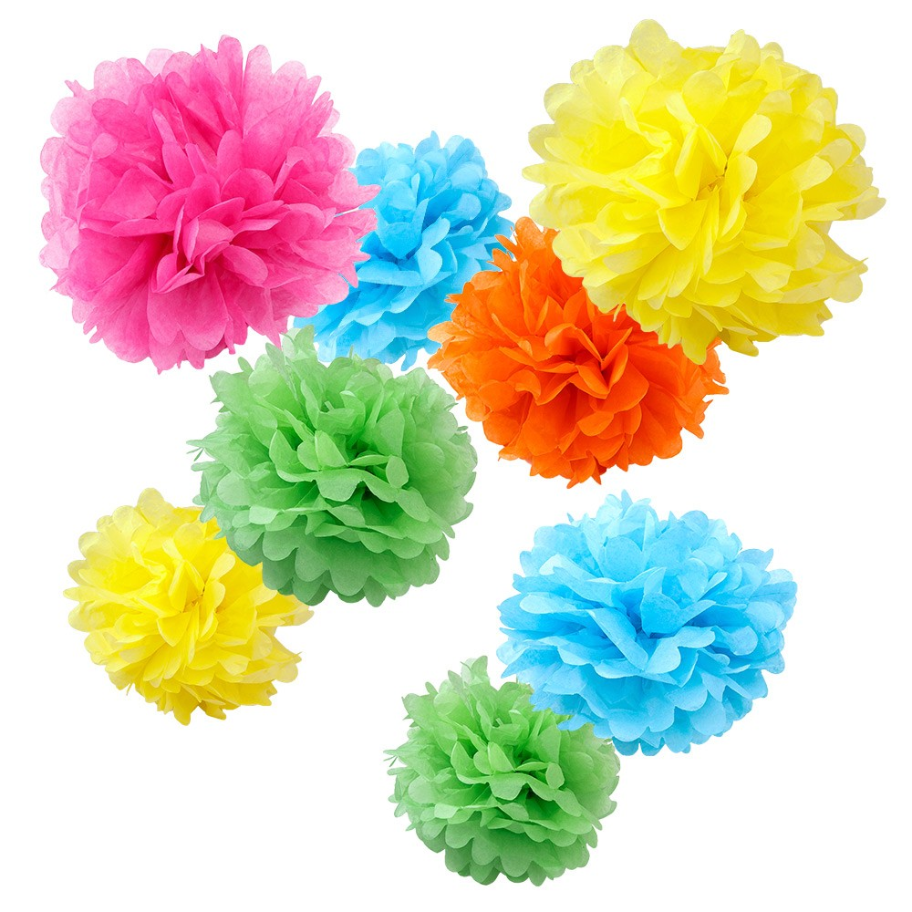 assorted tropical paper tissue pom poms set of 8 color pack small 8 10 12 wyz works. Black Bedroom Furniture Sets. Home Design Ideas