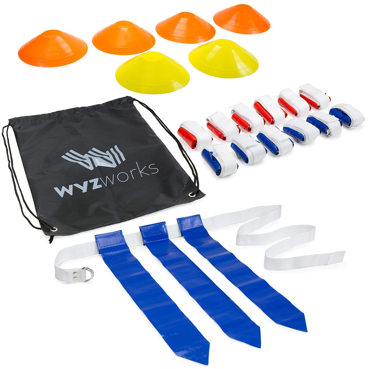 12 Player Flag Football Set - 36 Flags, 6 Cones & Travel ...