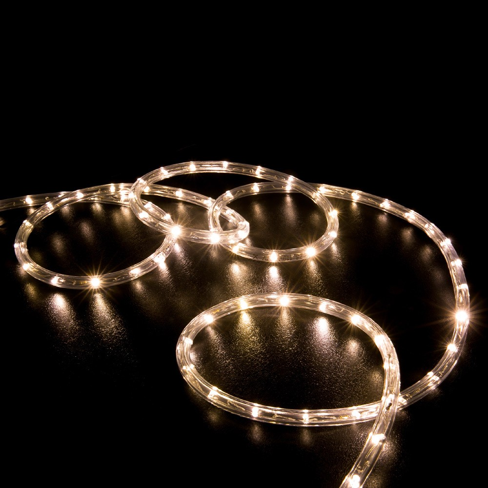 100 Warm White Led Rope Light Home Outdoor Christmas Lighting