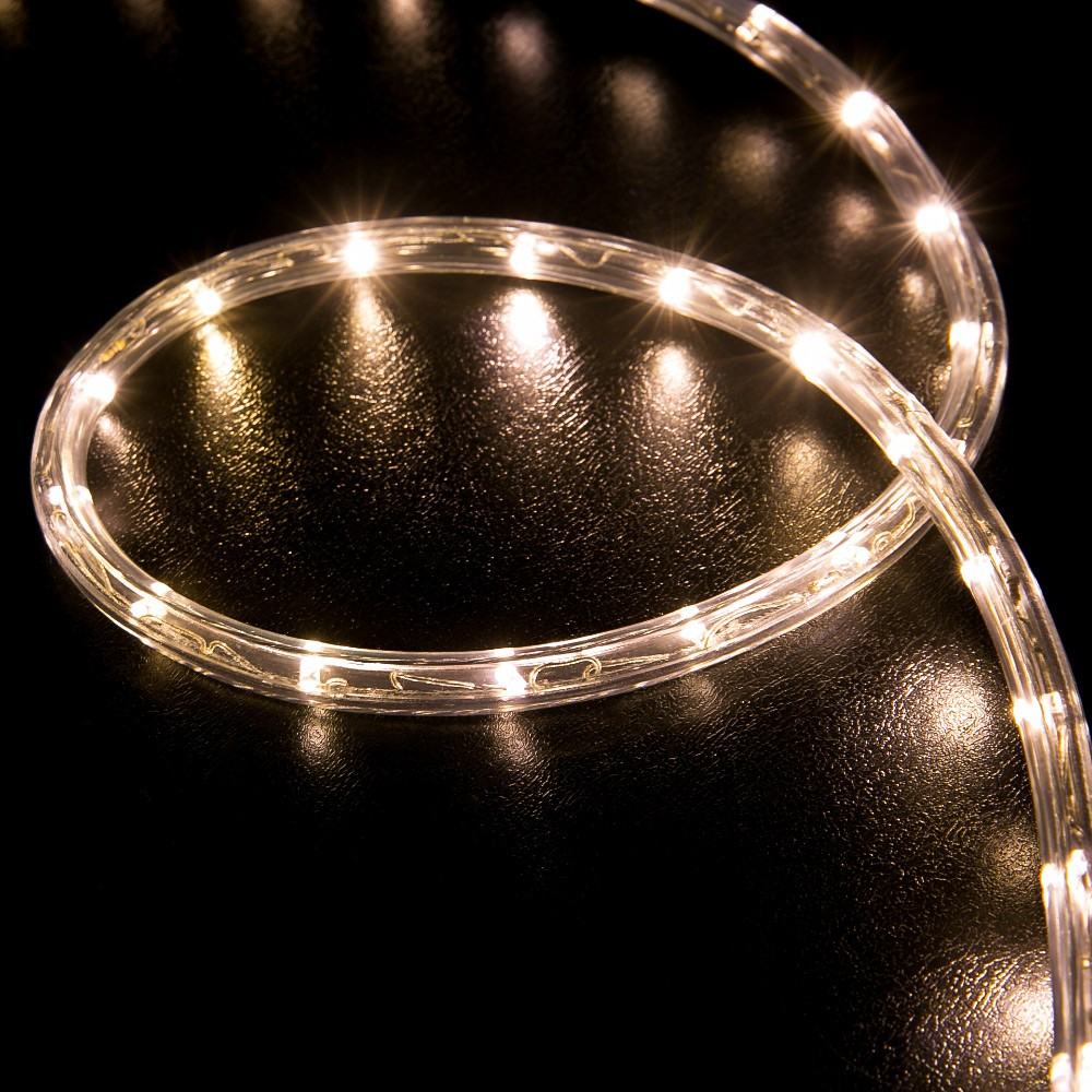 100 warm white led rope light home outdoor christmas lighting led rope light warm white 100 feet back aloadofball Image collections
