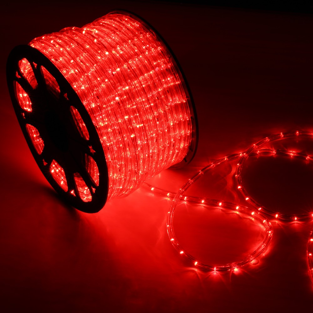 150 red led rope light home outdoor christmas lighting wyz works led rope light red 150 feet back aloadofball Gallery