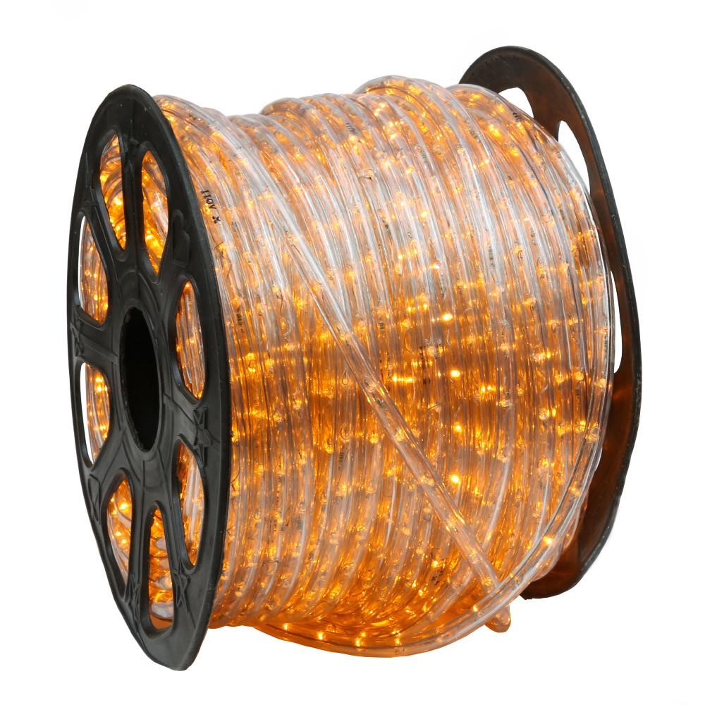 Yellow Outdoor Led Light Bulbs: 150' Orange / Saffron Yellow LED Rope Light