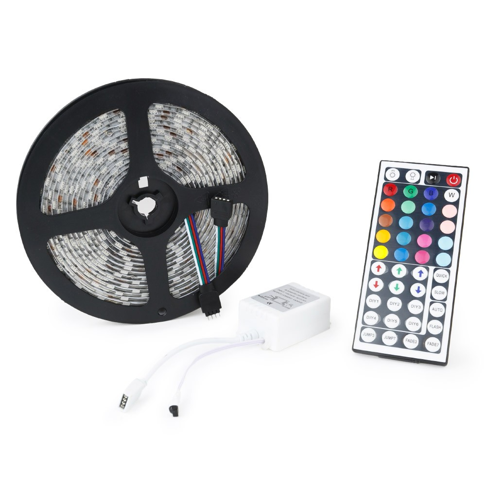 5m 5050 smd led strip light with remote wyz works 12v 300 led flexible smd 5050 multi color light ribbon strip 44key remote control mozeypictures Choice Image