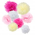 assorted pink and cream paper tissue pom pom