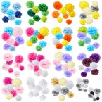 assorted paper tissue pom pom color pack set of 8