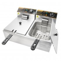 5000W 12 Liter Stainless Steel Electric Countertop Dual Deep Fryer