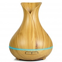 OXYFUL Smart Wooden Ultrasonic Cool Mist Humidifier Aroma Essential Oil Diffuser Wood-Grain 400ml
