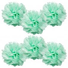 "6 Pack 8"" Seafoam Green Pom Poms"