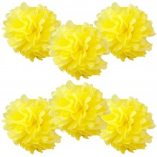 "6 Pack 8"" Yellow Pom Poms"