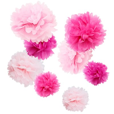 assorted pink paper tissue pom pom