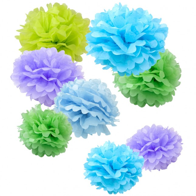 assorted spring pastel paper tissue pom pom