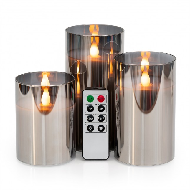 LED Metallic Glass Candle with Remote
