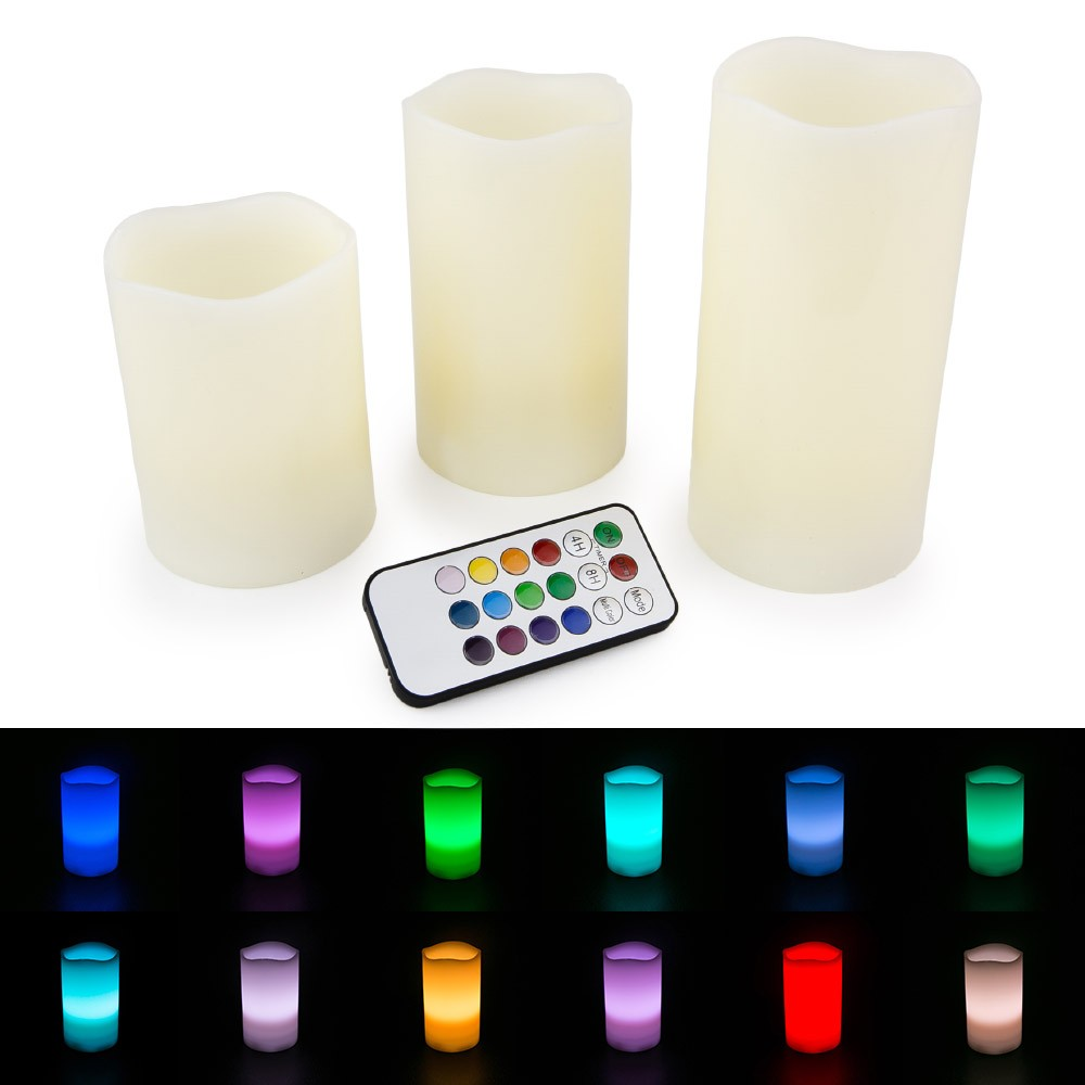 """LED Flameless Ivory Candles - Set of 3 (4"""" 5"""" 6"""") Color Changing with Remote - WYZ works"""