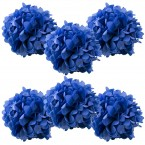 6pk royal blue pom poms