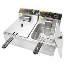 5000W 12 Liter Stainless Steel Electric Countertop Dual Deep Fryer