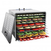 1200W Stainless Steel Food Dehydrator with 10 Trays and Temperature Control