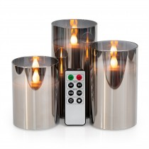 """LED Metallic Mirrored Tinted Grey Glass Flickering Flameless Candles - Set of 3 (4"""" 5"""" 6"""")  with Remote Control"""