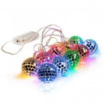 5.5 feet 10 Mixed Multi-Colors Mirror Disco Ball String Fairy Globe