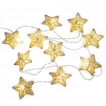 6ft 10LED String Light Metal Covered Stars Battery Powered